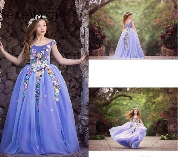 Beautiful Purple Flower Girls Dresses Jewel Neckline Sleeveless Kids Formal Wear For Wedding Flower Applique Girl Pageant Gown flower applique grab bag