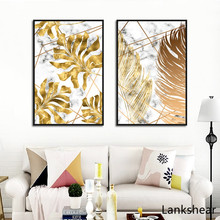 Nordic Plants Golden Leaf Canvas Painting Posters And Print Wall Art Pictures For Living Room Bedroom Home Decoration Artwork
