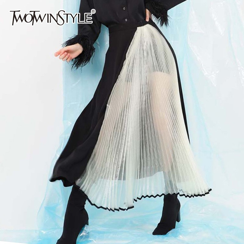 TWOTWINSTYLE Patchwork Mesh Skirts For Women High Waist Perspective Loose Long Women s Pleated Skirt Autumn