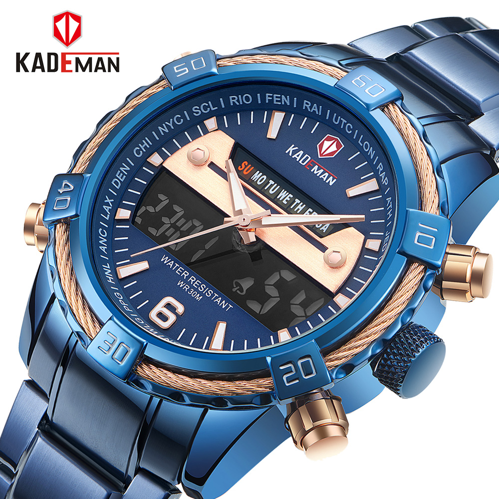 8fae51a7341 Fashion Brand Men Sports Watches with Leather Strap Digital Analog Watch  Army Military Waterproof Male LED