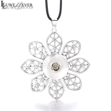 Hot Interchangeable Flower Crystal Ginger Necklace 033 Fit 12mm 18mm Snap Button Pendant Charm Jewelry For Women Gift