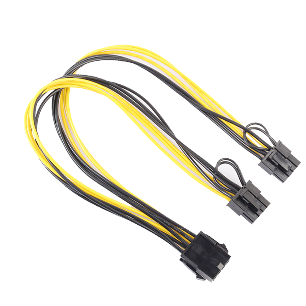 GPU PCI-E 8Pin to Double PCI-E PCI Express 8Pin(6Pin+2Pin) Splitter Cable Power Supply Cable 30cm PCIe Connector Cable Promotion cpu 8pin to graphics video card double pci e pcie 8pin 6pin 2pin power supply splitter cable cord 15cm f19802