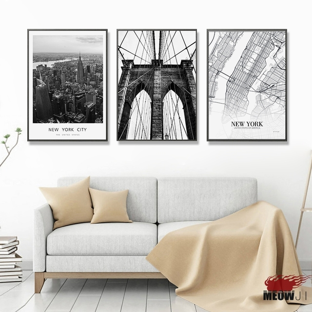 Posters Wall Art Printed Canvas Painting For Living Room Nordic Decoration  New York City Map Art