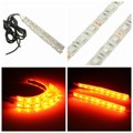 2 PCS Universal Motorcycle 5050 SMD LED Turn Signal Indicator Strip Light Lamp Amber