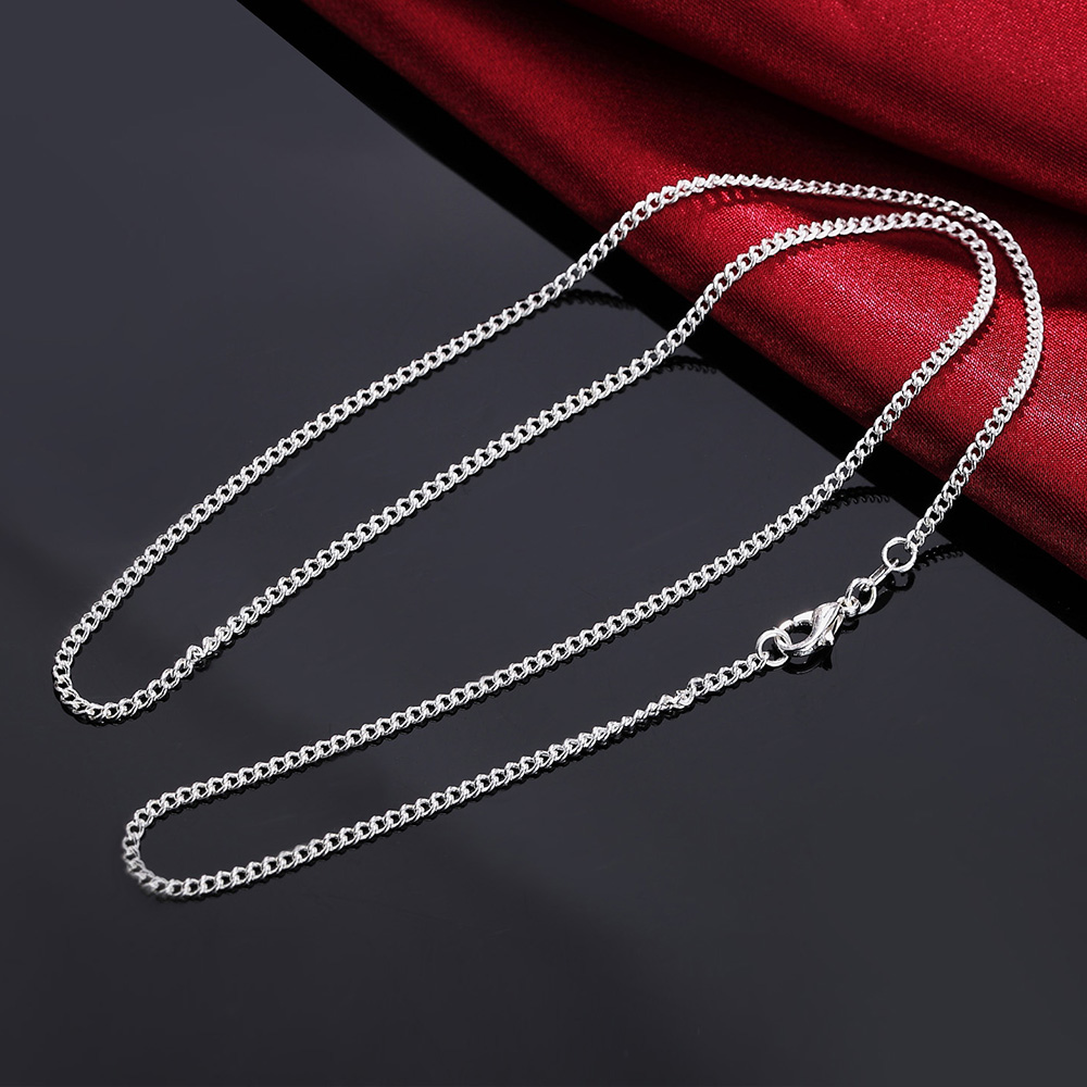 2PCS LN029 16-30inches 2mm Chain Silver Necklace Jewelry Cute Beautiful Fashion Women Men Silver Color Charm FOR PENDANT LN029