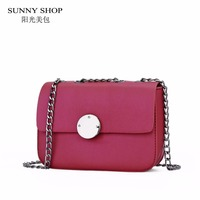 SUNNY SHOP Mini Over Shoulder Bags Women Casual Sling Bags Chains PU Leather Messenger Bags High