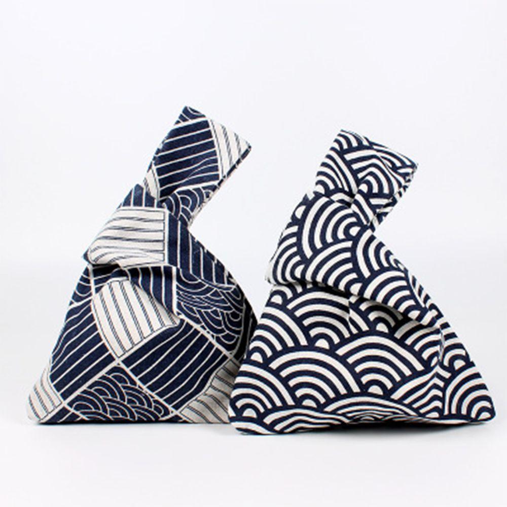 2019 Mode 1 Pc Heißer Verkauf Tragbare Delicate Japanischen Stil Tasche Kleine Streifen Handgelenk Taschen Mode Tote Taschen Baumwolle Mittagessen Taschen