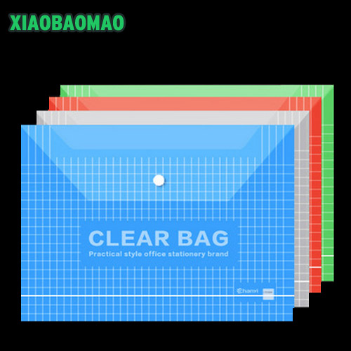 20pcs / Lot Color Transparent Plastic A4 Folders File Bag Document Hold Bags Folders Filing Paper Office Office Supplies
