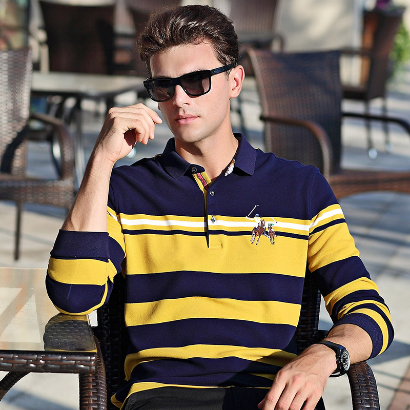 Autumn spring new arrival long sleeve   polo   shirt men business casual striped cotton breathable homme camisa plus size XXXL 6691