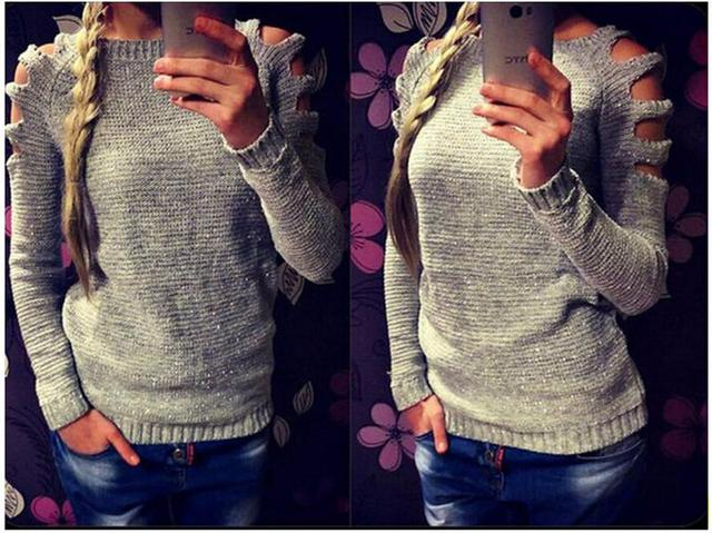 2016 Women Korean Hollow Out Knitted Sweaters Ladies Casual Solid O Neck Long Sleeve Knitwear Pullover Tops