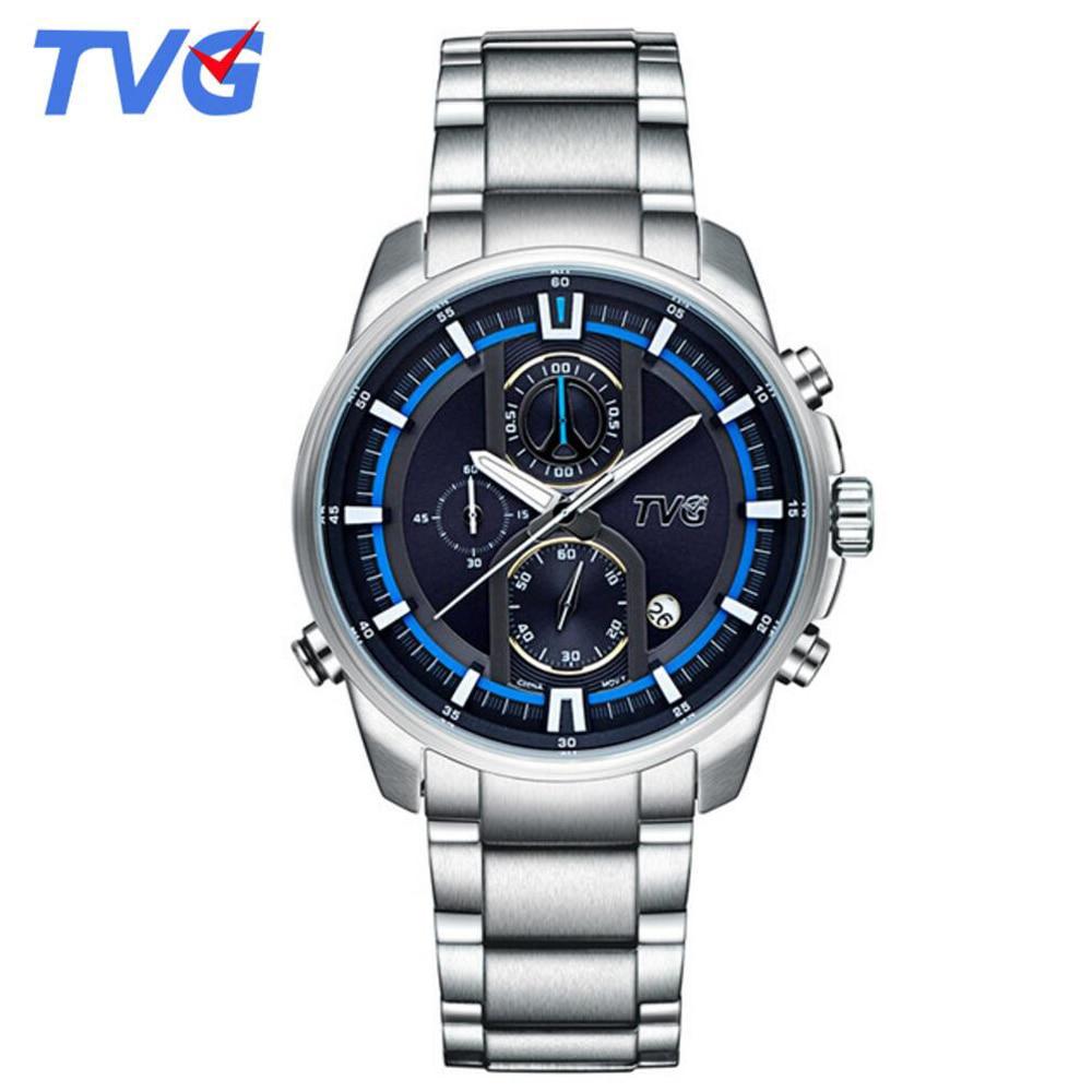 TVG Men Watches Top Brand Luxury Stainless Steel Quartz Watch 30M Waterproof Dive Sports Watches For Men relogio masculino 2017 tvg 801 male double movt quartz digital watch