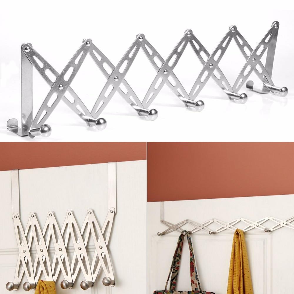 6 hook flexible door hanger rack decorative wall shelf bathroom kitchen organizer metal coat. Black Bedroom Furniture Sets. Home Design Ideas