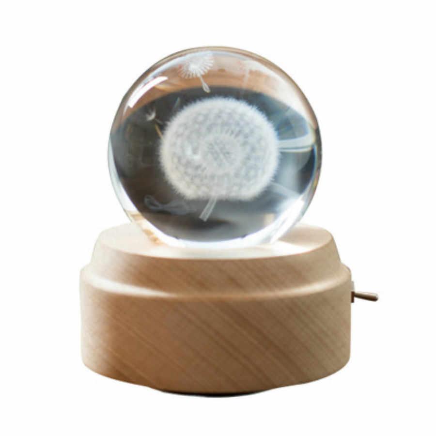 キヤノンヨーロッパブナ木材クリスタルボール発光オルゴールヘラジカスター木製ベース工芸ギフトカスタム