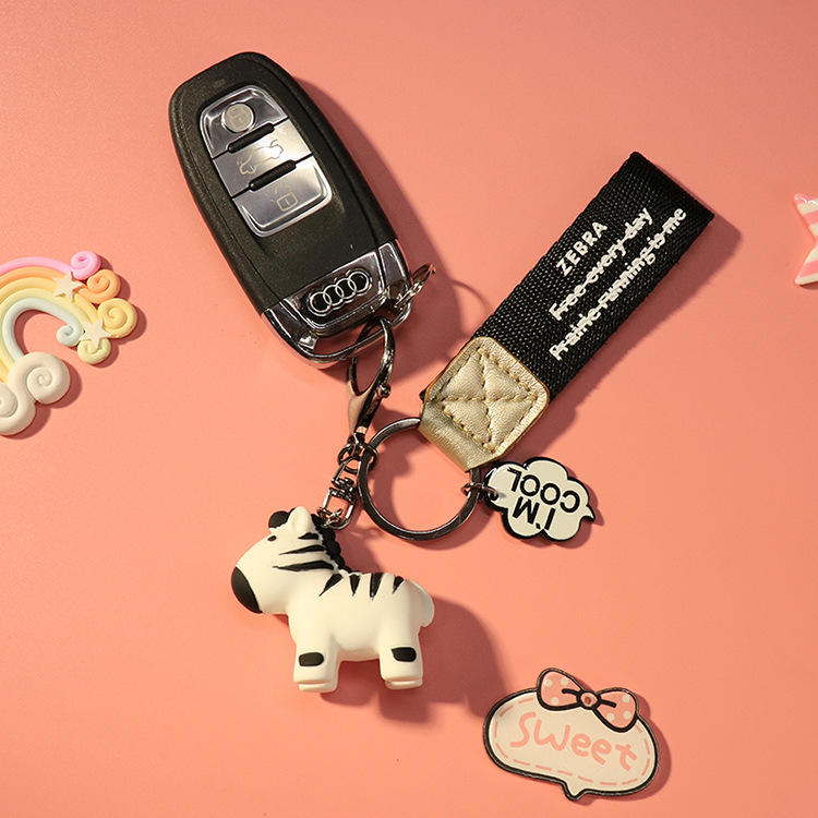 Pony Keychain Doll Key Ring Decoration Accessories Threaded Print Wristband Pendant Key Chain Grassland Anima Ornaments in Key Rings from Automobiles Motorcycles