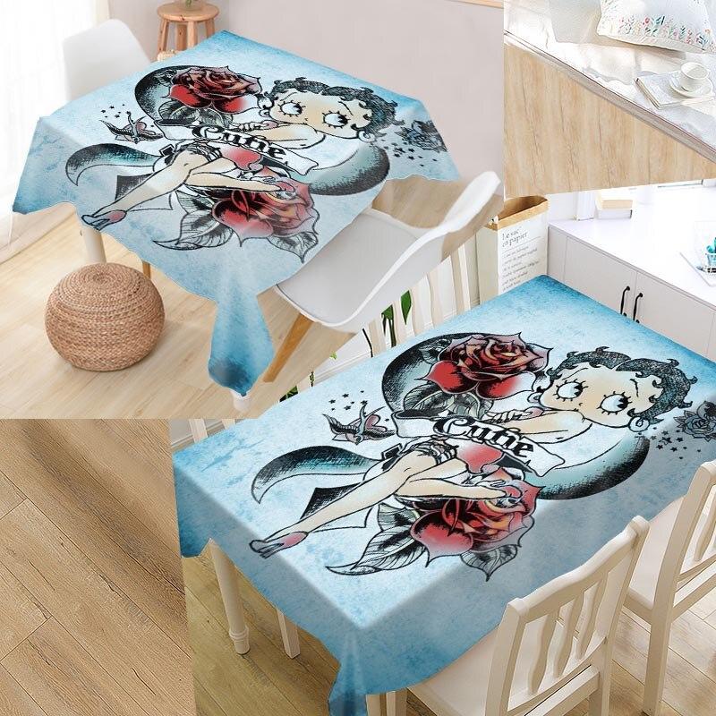 Custom Betty Boop Tafel Dekken Rechthoekige Thuis Bescherming Decoratie Elegant Wedding Waterdicht Oilproof Tafelkleed