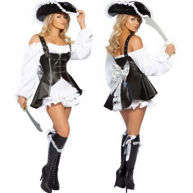 new punk pirate costume women adult party halloween costumes for women black devil faux leather sexy - Halloween Punk Costume
