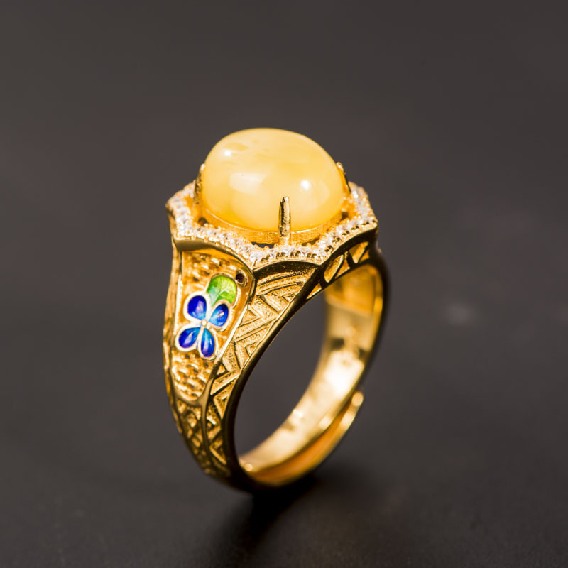 S925 Sterling Silver Ornaments Cloisonne Enamel Jewelry Natural Beeswax Gems Open Ended Rings Fashion Women WholesaleS925 Sterling Silver Ornaments Cloisonne Enamel Jewelry Natural Beeswax Gems Open Ended Rings Fashion Women Wholesale
