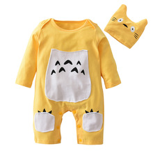 Cotton Long Sleeve Cartoon Overalls for Newborn Baby Boy & Girl Jumpsuit with hat