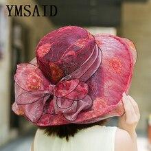 Ymsaid 7 Color Elegant Fashion Women's Church Hats Female Beach Hat Summer Gorras Sun Hat Wedding Vintage Kentucky Derby Hats