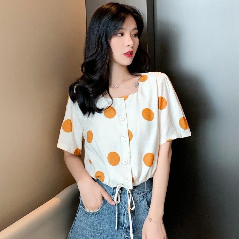 Women 39 s Shirt Short Sleeve 2019 Summer Vintage Women Blouse Polka Dot Drawstring Chiffon Shirt Top Blusas in Blouses amp Shirts from Women 39 s Clothing