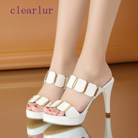 Summer ladies slippers high heels women's shoes white wedding shoes open toe shallow shoes women's shoes sandals zapatos mujer