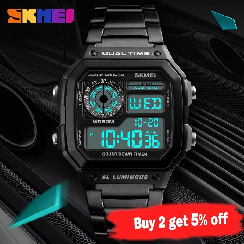 SKMEI Top Luxury Fashion Sport Watch Men 5Bar Waterproof Watches Stainless Steel Strap Digital Watch reloj hombre 1335
