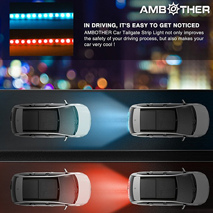 Image 2 - Ice blue/Yellow/Red/White flowing Rear LED Trunk dynamic turn signal light strip flexible Tailgate luggage led warnning light-in Car Light Assembly from Automobiles & Motorcycles