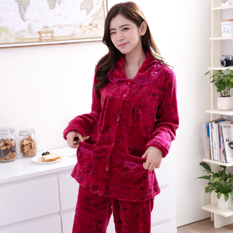 a80510a683 Pajamas Set Women Flannel Thicken 2018 Winter Coral Velvet Home ...