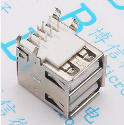 10pcs Double USB Type A Female Solder Jacks Connector PCB Socket USB-A type 90 Degrees 4pins 100pcs right angle 4 pin usb type a standard port female plug jacks connector pcb socket usb a type