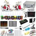 EUA Despacho Pro Kit Tattoo Completa 2 Metralhadoras 10 Tintas Agulhas Apertos de Energia LCD Tisp Abastecimento Iniciante Conjunto