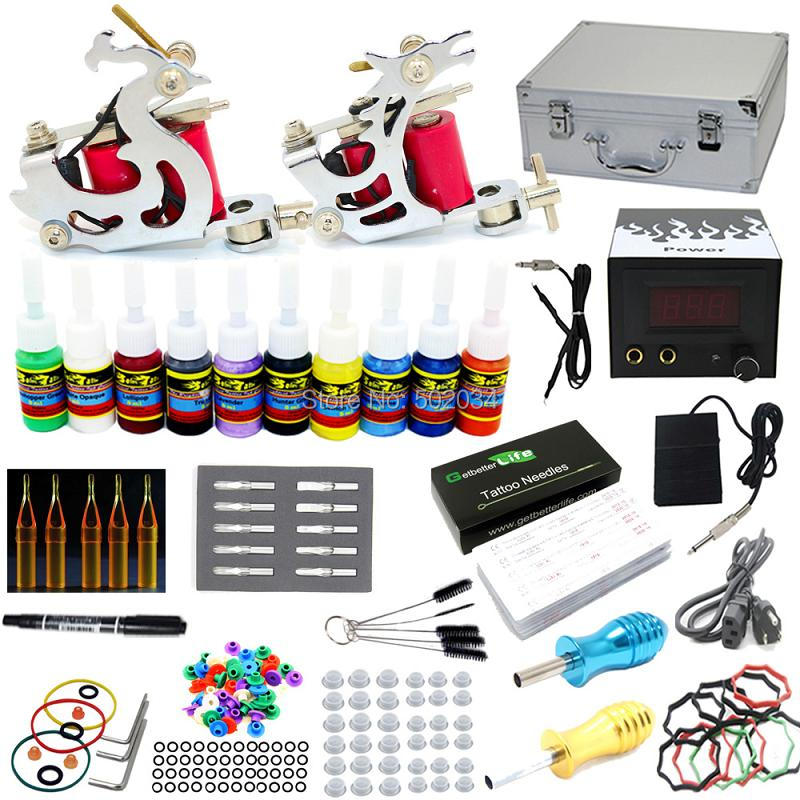 USA Dispatch Pro Complete Tattoo Kit 2 Machine Guns 10 Inks Needles LCD Power Grips Tisp Supply Beginner Set starter tattoo kit 40 inks 2 machine guns grips needles tips power set equipment supplies for beginners usa warehouse k201i1