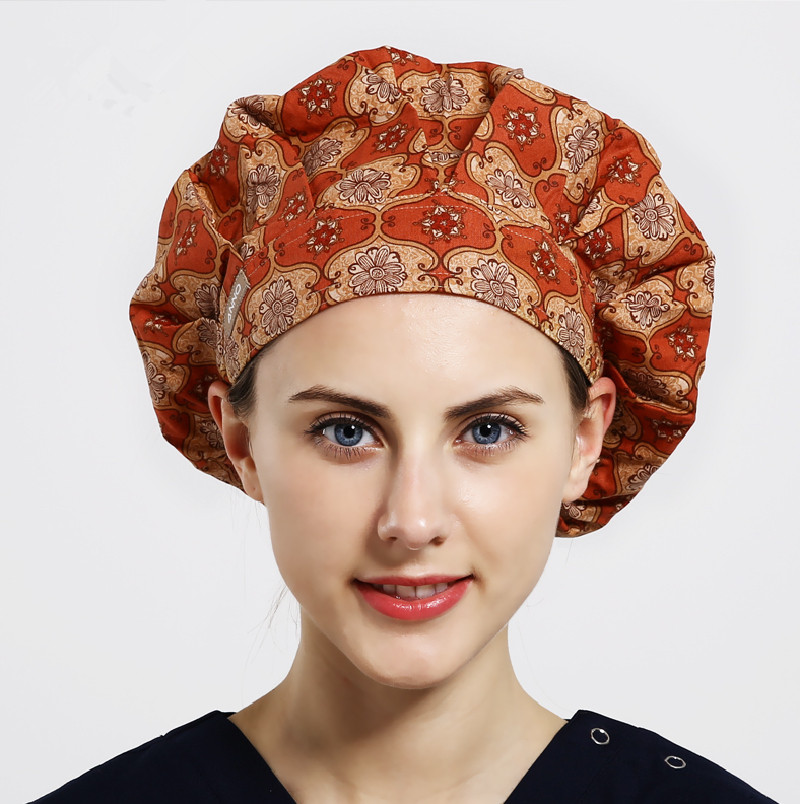 2018 New Medical Scrubs Women Womansummer Thin Quality Surgical Cap Doctor Adjustable Print For Long Hair Back Color Bouffant
