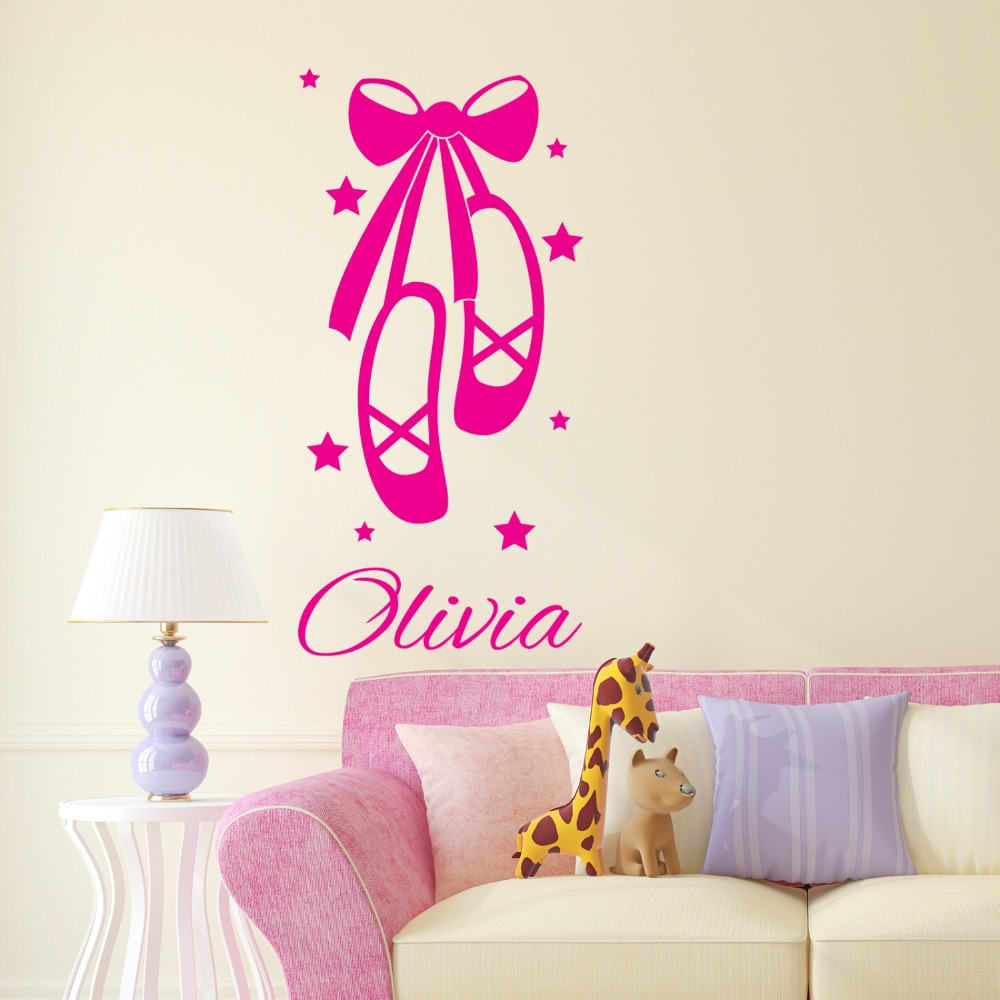 Ballet Shoes Wall Decal Personalized Name Vinyl Wall Stickers For Kids Rooms Girls Custom Name Bedroom Nursery Room Decor SY12