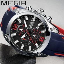ساعة رجالية من MEGIR ذات علامة تجارية فاخرة كرونوغراف ساعة رجالية رياضية مقاومة للماء ساعة يد عسكرية من المطاط ساعة يد رجالية 2063