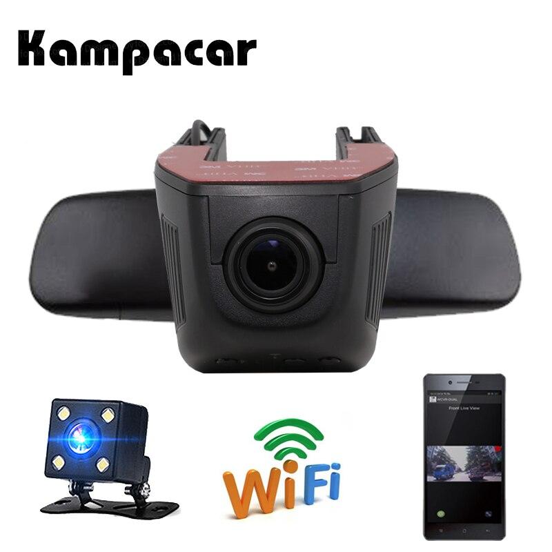 Kampacar скрытая Wi-Fi камера заднего вида Видео Регистратор Автомобильный регистратор 2 в 1 Автомобильный DVRs Авто видеокамера двойная камера s ми...