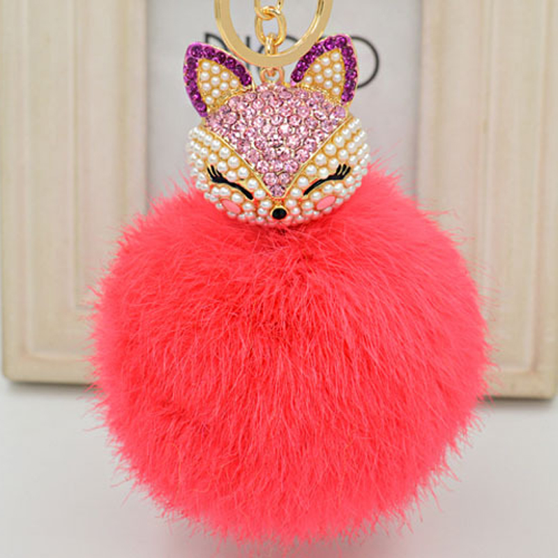 Hot Trinket 10cm Rabbit Fur Ball Fox Crystal Keyrings Key Chain Highly Rabbit Fur Ball Pom Pom Ball Bag Car Ornemants Keychain