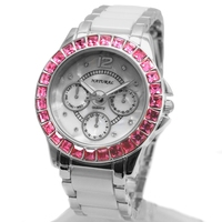 ALEXIS Brand Fashion White Dial Ceramic Rose Pink Rose Crystal Bracelet Watch women 2017 ladies watches Montre Femme