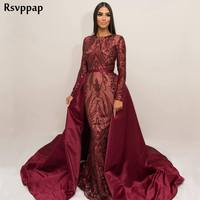 Long Burgundy Arabic Style Evening Dress 2018 Mermaid Long Sleeve abendkleider Elegant Party Women Formal Gowns