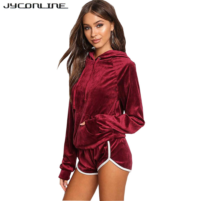 JYConline Autumn Sexy Women Sets 2 Pieces Sets Women Tracksuit Long Sleeve Tops And Shorts Sportswear Suit Hooded Sweatshirt