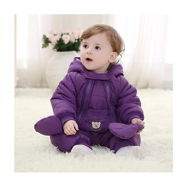 Crianças Pijamas de Inverno Bebê Menina Macacão Bebê Recém-nascido Jaqueta Moletom Com Capuz menino Casacos de Neve Quente Ganso Parka Manteau Bebe Encerado jaqueta