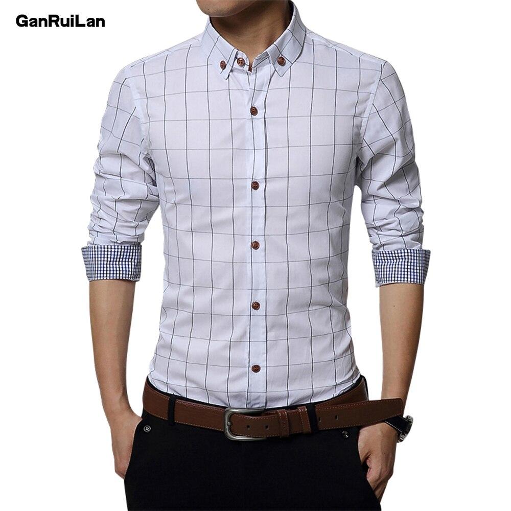 2018 New Autumn Fashion Brand Men Clothes Slim Fit Men Long Sleeve Shirt Men Plaid Cotton Casual Men Shirt Social Plus CY18002