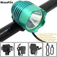 Wasafire 1800 Lumen Đèn Xe Đạp Front Headlight Màu Xanh Lá Cây XM-L T6 LED Light 3 Chế Độ với 6400 mAh Pin Sạc