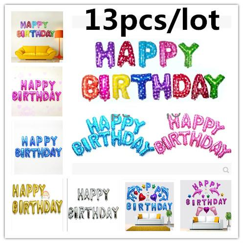 COMBO 13pcs/lot Pink / Blue Letter Happy Birthday BALLOON Aluminum Foil Balloon