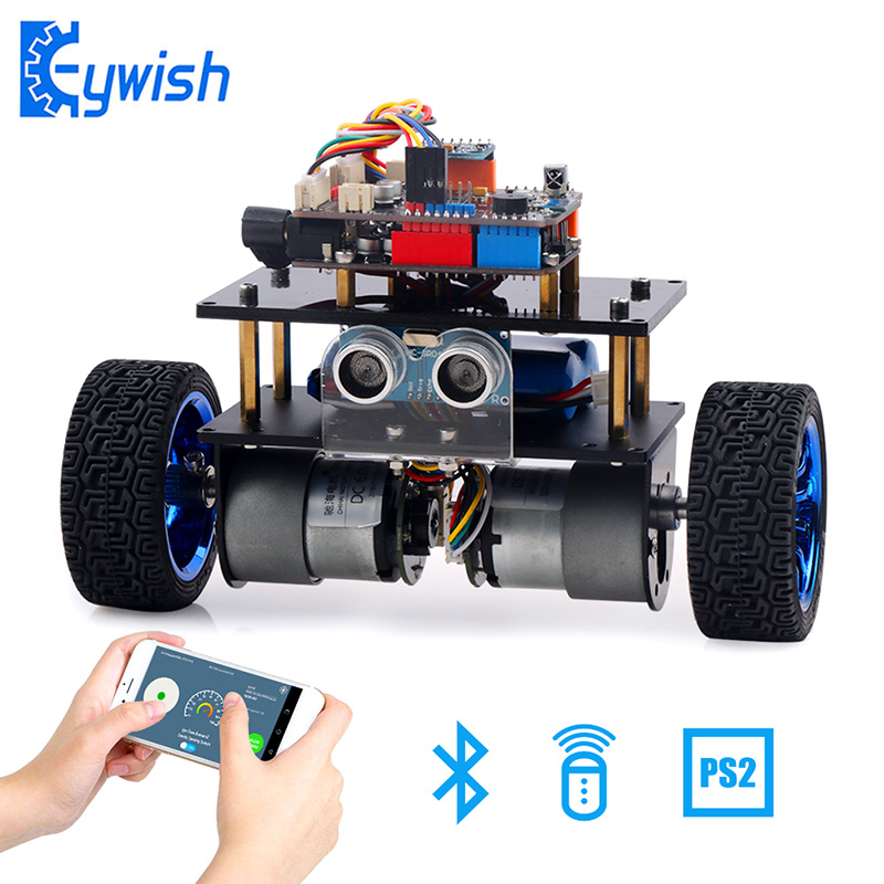 Voitures d'équilibre pour Arduino UNO R3 Super Kit de démarrage APP RC télécommande ultrasons Bluetooth Module de suivi de ligne