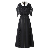 2019 Self Portrait dresses runway women fashion lace Long A line dress peter pan collar off the shoulder midi cloak Vestido robe