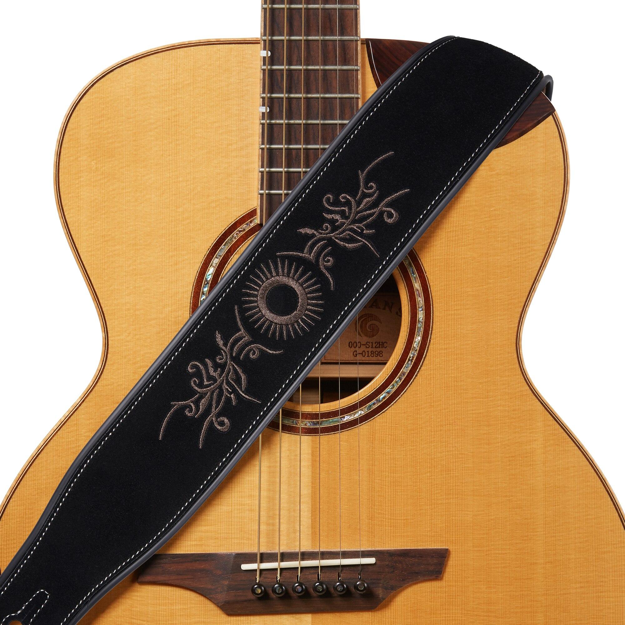 amumu tribal embroidered premium suede leather guitar strap black hj1134 adjustable length. Black Bedroom Furniture Sets. Home Design Ideas