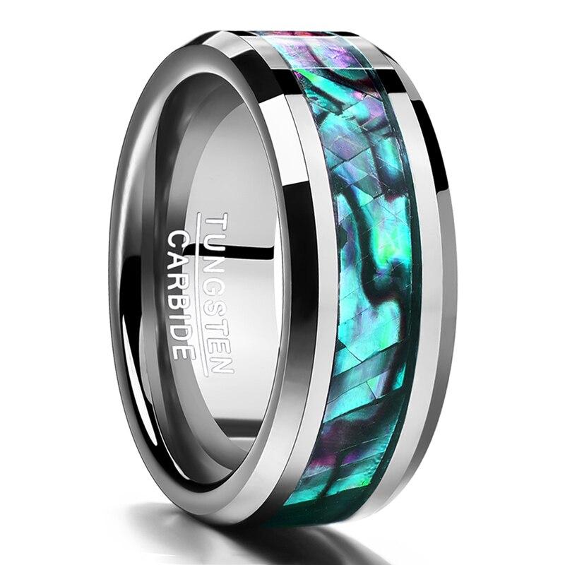 Joyería Fina 8mm Inlaid Abalone Shell acero biselado carburo de tungsteno anillo de bodas joyería ee.uu. Tamaño 7 8 9 10 11 12 regalo de San Valentín