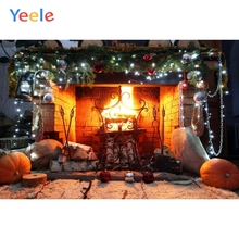 Yeele Merry Christmas Party Fireplace Fire Pumpkin Photography Backdrop Baby Photo Background Custom Vinyl For Studio