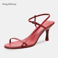 Runway style sexy women designer red sandals high kitten heels side strap open toe sheepskin genuine leather party dress shoes