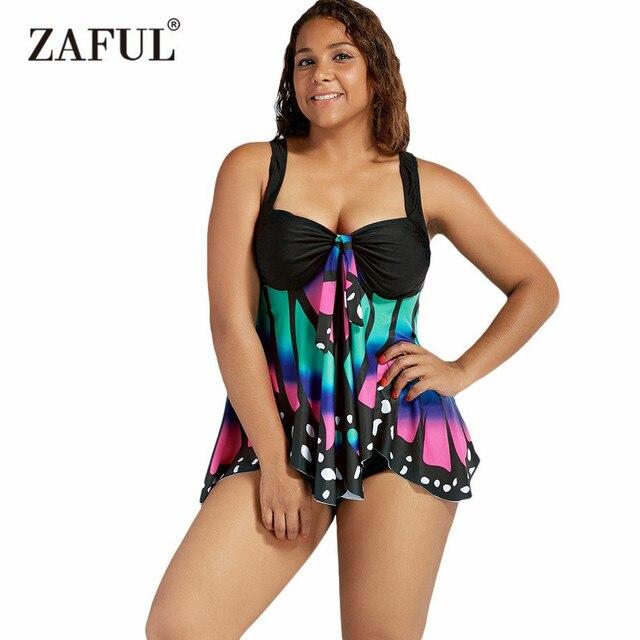 44fd43b5e9d Zaful 2017 Women New Plus Size Butterfly Print Blouson Tankini Sexy High  Waisted Halter Biquinis Swimwear Beach Wear Swimwear